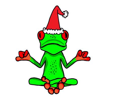 christmas frog: Meditating Christmas Tree Frog with a Santa Hat