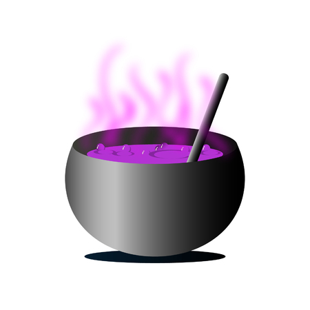 Magic potion pot for a witch in the Halloween day. Çizim