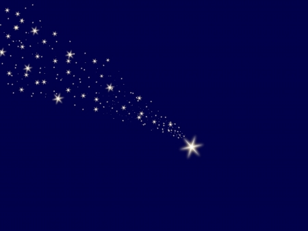 Falling star on the night blue sky photo