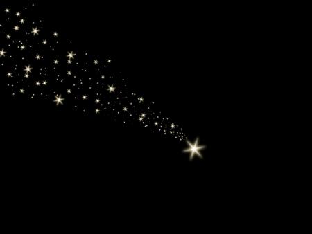 star trail: Falling star on the night black sky Stock Photo