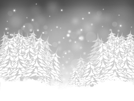Christmas card with firs silver background
