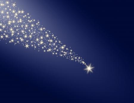 파란색 배경에 흰색 흔적 스타 떨어지는