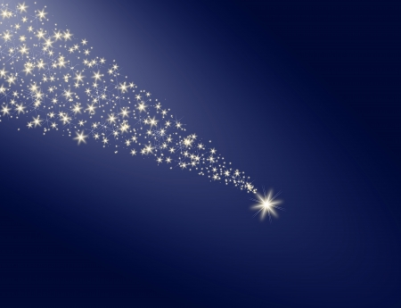 Falling star on a blue background white trail photo