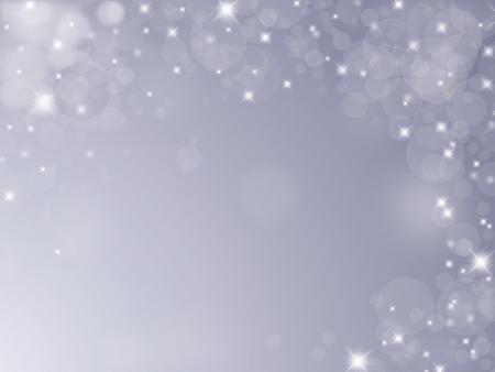 Fond argenté avec des flocons de neige, des bulles et des étoiles Banque d'images