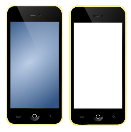 Mobile phone with yellow box blue screen photo