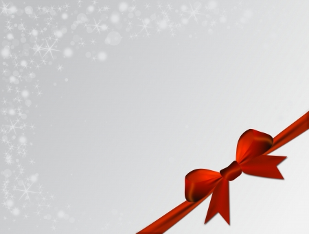 cockade: Silver Christmas background with red bow Stock Photo