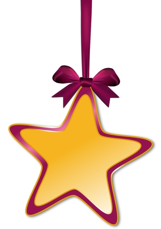 Decorative star with violet red bow on white photo