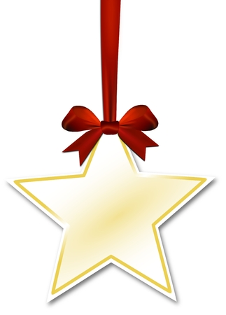 Decorative star with red bow on white photo