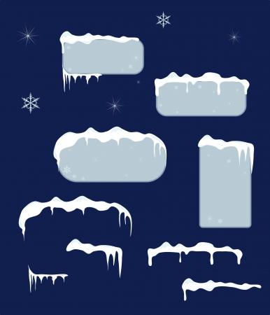 sopel lodu: Christmas blue naklejki sprzedaży i znaczniki z soplami, gwiazdy i płatki śniegu na ciemnym niebieskim tle śniegu góry wektor