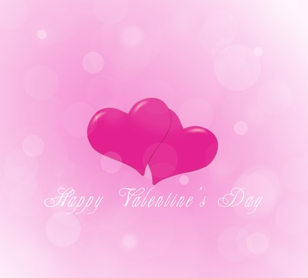 Couple of hearts on the pink background for a Valentine photo