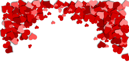 Frame of red hearts on a white background for a Valentine s Day