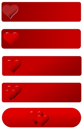 hued: Banners with heart on a red hued background on a white isolated