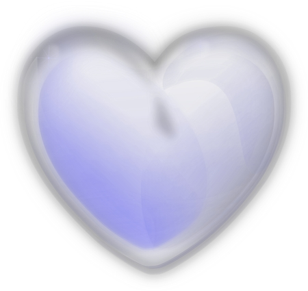 Iced heart on a white background, blue glass photo