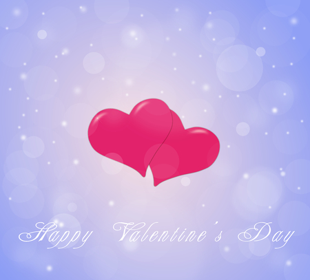 season s greeting: Couple of hearts on the sky blue red background for a Valentine