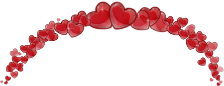 Frame of red hearts on a white background for a Valentine photo