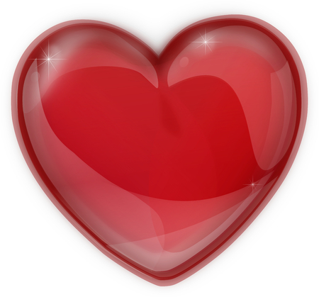 Red heart made of glass icon isolated photo