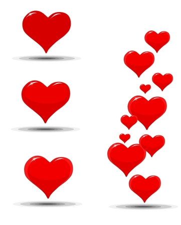 Red Hearts icons for a Valentine Vector