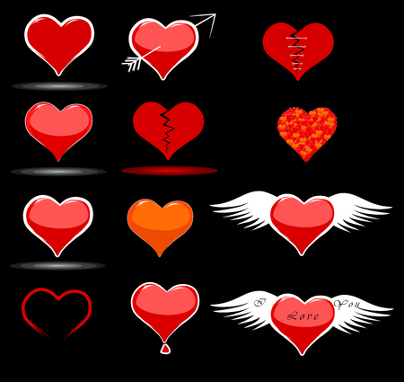 Hearts stickers and icons for a Valentine s Day Vector