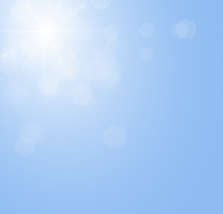 without clouds: Sun is shining on the blue sky without clouds  Illustration of the sunbeam  Stock Photo