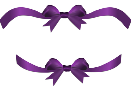 Purple bow on the gift or heart isolated on a white background photo