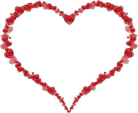 Frame Heart made of hearts for a Valentine's Day or Mother's Day on a white background photo