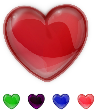 Red,purple,green,pink and blue glass shiny heart isolated on a white background photo