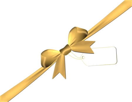 overlays: Satin golden bow with golden overlays isolated on a white background Stock Photo