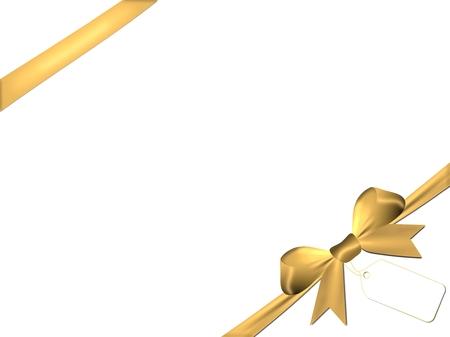 overlays: Sat�n arco de oro con superposiciones de oro aislado en un fondo blanco Foto de archivo