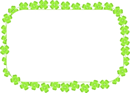 Border made of four-leaf clovers isolated on a white background photo
