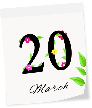 Calendar page with date of spring season-20 03 2014 isolated on a white background