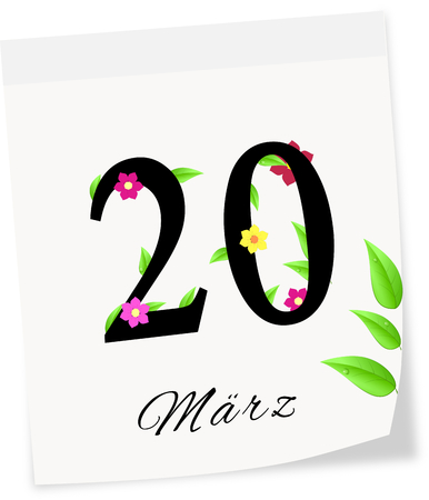 frhling: Calendar page with date of spring season-20 03 2014 isolated on a white background 20 M�rz Fr�hling