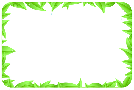 brink: green border made of leaves as design element of page with space text isolated on a white background