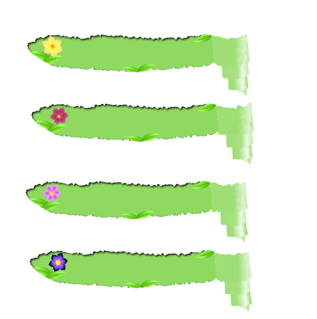 spring roll: Set torn papers with green space for text with flowers,leaves isolated on a white background