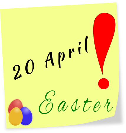 Stick note as reminder with date of Easter-20 04 2014 isolated on a white background photo