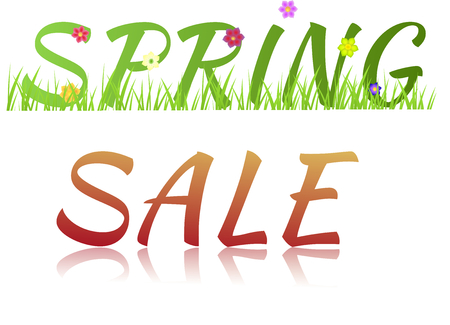 Inscription Spring sale with flowers,grass and glass effect isolated on a white background photo