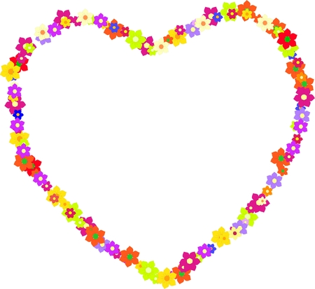 Heart vector made of colorful flowers on Mother Vector