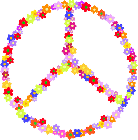 Vector sign of hippie made of flowers isolated on a white background  Illustration