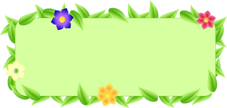 brink: Green border made of leaves and flowers with space text with green background Stock Photo