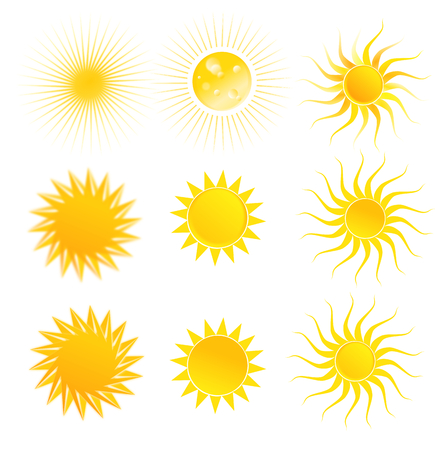Illustration of set of suns isolated on a white background illustration