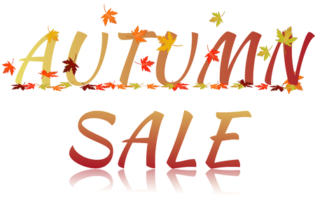 Inscription Autumn sale with maple leaves and glass effect isolated on a white background photo