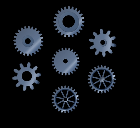 toothed: Set of abstract steel toothed wheels cogs, mechanism