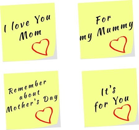 Vector of yellow stick note for Mothers Day with text Vector