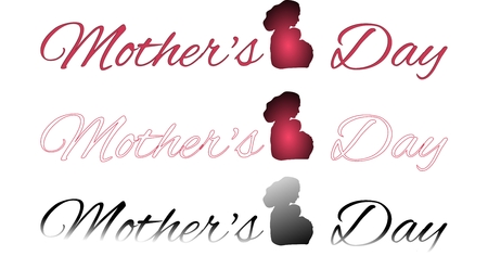 superscription: Set of inscriptions Mothers day with shadow of mother with baby isolated on a white background