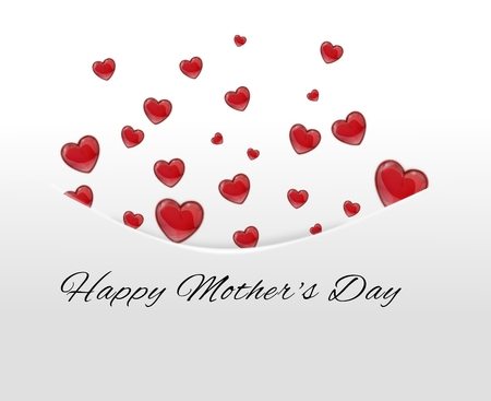 Red hearts tucked away in pocket,envelope on a white background on Mothers Day