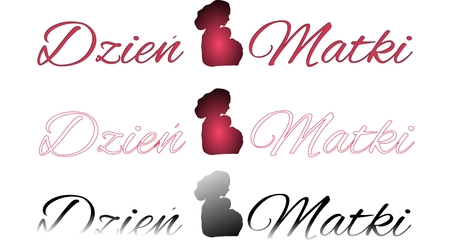 subtitle: Set of inscriptions Mothers day with shadow of mother with baby isolated on a white background