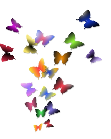 Illustration of flock of colorful butterflies isolated on a white background