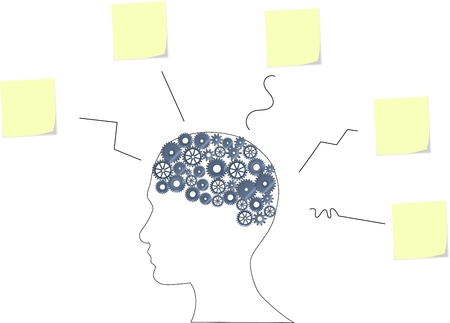 Illustration of a brain with many ideas on paper notes