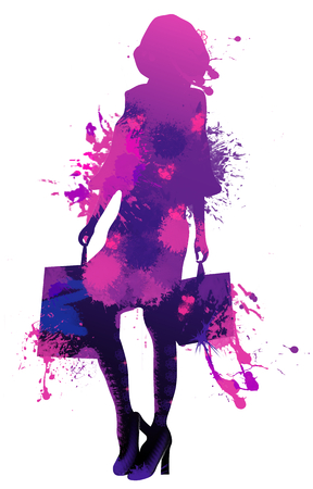 Beautiful young woman multi colour painting silhouette shopping