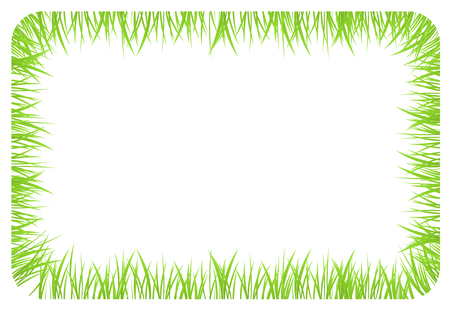 White background banner with frame, border made of grass