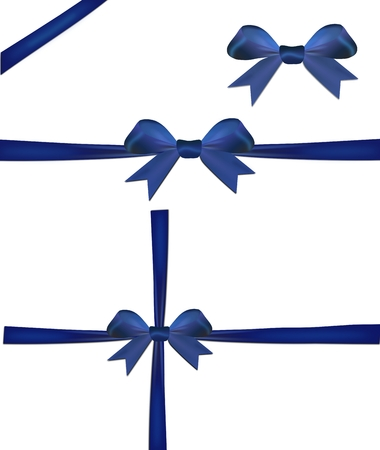 Set of christmas blue bow isolated on a white background Reklamní fotografie
